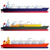 Βυτιοφόρα πετρελαιοφόρων και αερίου, LNG μεταφορείς επίσης corel σύρετε το διάνυσμα απεικόνισης Στοκ Εικόνες