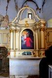 Βωμός καταστροφές Μέσα στην ενισχυμένη μεσαιωνική σαξονική εβαγγελική εκκλησία στο χωριό Felmer, Felmern, Τρανσυλβανία, Ρουμανία Στοκ εικόνες με δικαίωμα ελεύθερης χρήσης