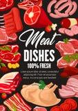 Βόειο κρέας κρέατος κρεοπωλείων και χοιρινό κρέας, λουκάνικα καταστημάτων χασάπηδων διανυσματική απεικόνιση