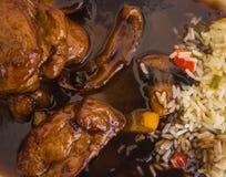Βόειο κρέας στη σάλτσα μελιού με το ρύζι Στοκ Εικόνες
