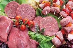 Βόειο κρέας, χάμπουργκερ, μικτό κρέας kebabs Στοκ Εικόνες