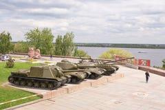 Βόλγκογκραντ Ρωσία - 11 Μαΐου 2017 δεξαμενή μπροστά από το μουσείο-πανόραμα Στοκ Φωτογραφίες