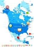Βόρεια Αμερική - εικονίδια χαρτών και ναυσιπλοΐας - απεικόνιση Στοκ φωτογραφία με δικαίωμα ελεύθερης χρήσης