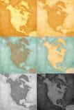 Βόρεια Αμερική - εκλεκτής ποιότητας υπόβαθρα χαρτών Στοκ Φωτογραφία