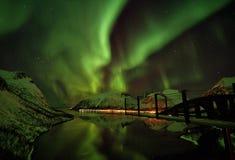 Βόρεια αυγή Borealis Νορβηγία φω'των νησιών Lofoten Στοκ Εικόνα