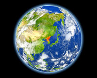 Βόρεια Κορέα στο κόκκινο από το διάστημα Στοκ Εικόνες