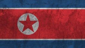 Βόρεια κορεατική σημαία που χρωματίζεται στον τοίχο στοκ φωτογραφία με δικαίωμα ελεύθερης χρήσης