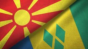 Βόρεια Μακεδονία και Άγιος Βικέντιος και Γρεναδίνες δύο υφαντικό ύφασμα σημαιών διανυσματική απεικόνιση