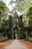 Βόρεια πύλη Thom Angkor στον αρχαίο ναό Angkor σύνθετο, Καμπότζη Στοκ Εικόνα