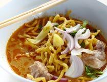 Βόρεια ταϊλανδική Noodle σούπα κάρρυ Στοκ εικόνες με δικαίωμα ελεύθερης χρήσης
