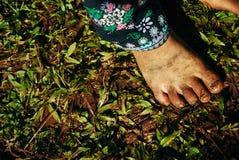 Βόρεια Ταϊλάνδη: Πόδια βρώμικων κινηματογραφήσεων σε πρώτο πλάνο Στοκ Εικόνα