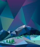 Βόρεια φω'τα πέρα από τα βουνά στο διάνυσμα χειμερινής νύχτας Στοκ Εικόνα