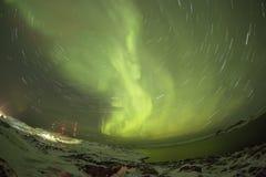 Βόρεια φω'τα στη χερσόνησο κόλα Teriberka, Μούρμανσκ Regio Στοκ φωτογραφίες με δικαίωμα ελεύθερης χρήσης