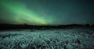 Βόρεια φω'τα (borealis αυγής) πέρα από τους παγωμένους αγροτικούς τομείς απόθεμα βίντεο