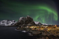 Βόρεια φω'τα Hamnoy Στοκ Φωτογραφίες