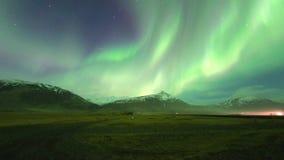 Βόρεια borealis αυγής φω'των στην Ισλανδία απόθεμα βίντεο