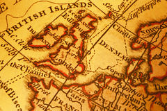 βόρειος παλαιός χαρτών της Μεγάλης Βρετανίας Ευρώπη Στοκ εικόνα με δικαίωμα ελεύθερης χρήσης