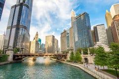 Βόρειος ποταμός Riverwalk του Σικάγου στον ποταμό ι του Σικάγου βόρειων κλάδων Στοκ εικόνες με δικαίωμα ελεύθερης χρήσης