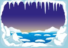 Βόρειος πόλος με τα παγόβουνα διανυσματική απεικόνιση