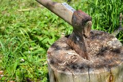βόρειο κολόβωμα του Μαυροβουνίου τσεκουριών Τσεκούρι έτοιμο για την τέμνουσα ξυλεία Εργαλείο ξυλουργικής Ταξίδι, περιπέτεια, εργα Στοκ εικόνες με δικαίωμα ελεύθερης χρήσης