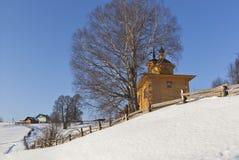 Βόρειο χωριό τοπίων το χειμώνα Στοκ Φωτογραφίες