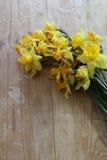 Βλαστημένα daffodil λουλούδια σε έναν ξύλινο πίνακα Στοκ εικόνα με δικαίωμα ελεύθερης χρήσης