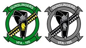 Β το Φ Α - λογότυπο 105 Gunslingers - παρουσιάζει το πουλί και τακτικό γκρίζο διανυσματική απεικόνιση