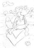 Β ως ιταλικό αλφάβητο αλεπούδων, σκίτσα και σκίτσα μολυβιών και doodles Στοκ φωτογραφία με δικαίωμα ελεύθερης χρήσης