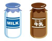 Γάλα και καφές γάλακτος στο μπουκάλι που απομονώνεται στο άσπρο υπόβαθρο διανυσματική απεικόνιση