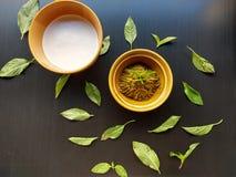 Γάλα καρύδων και ταϊλανδικό πράσινο κάρρυ με τους γλυκούς βασιλικούς στοκ εικόνες με δικαίωμα ελεύθερης χρήσης