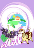 γάλα μαύρων σταφίδων απεικόνιση αποθεμάτων