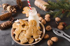 γάλα μπισκότων Μπισκότα μελοψωμάτων σε ένα γκρίζο υπόβαθρο τα μπισκότα Χριστουγέννων βρίσκουν ότι οι εικόνες φαίνονται περισσότερ Στοκ Εικόνες