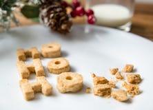 γάλα μπισκότων Τοπ άποψη των μπισκότων και του γάλακτος για Santa μετά από την επίσκεψη santa Στοκ Εικόνες