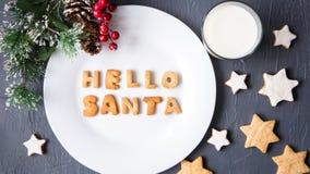 γάλα μπισκότων Τοπ άποψη των μπισκότων και του γάλακτος για Santa Στοκ Εικόνες