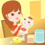 γάλα σίτισης μωρών mom Στοκ Εικόνες