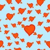 Γάμος ή ρομαντικό άνευ ραφής σχέδιο ημέρας βαλεντίνων ` s με τις καρδιές που πληγώνονται από Cupid Arrow με το τετραγωνικό σχήμα  απεικόνιση αποθεμάτων