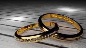 Γάμος για πάντα - τα χρυσά γαμήλια δαχτυλίδια ένωσαν μαζί για πάντα με χαραγμένος και να φορέσουν γάντια λέξη απεικόνιση αποθεμάτων