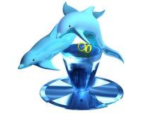 γάμος δαχτυλιδιών δελφινιών Στοκ Εικόνα