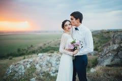 γάμος δεσμών κοσμήματος κρυστάλλου λαιμοδετών ζευγών Στοκ Φωτογραφίες