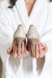 γάμος παπουτσιών ανθοδεσμών Στοκ Φωτογραφία
