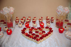 γάμος 8 πιτών Marshmallow φραγμών καραμελών στον πίνακα σε ένα βάζο, macaroon, και cupcake, βανίλια ντεκόρ, χειροποίητα γλυκά Στοκ φωτογραφία με δικαίωμα ελεύθερης χρήσης