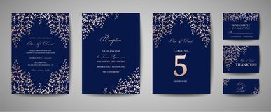 Γάμος πολυτέλειας εκτός από την ημερομηνία, συλλογή καρτών ναυτικού πρόσκλησης με τα χρυσά φύλλα φύλλων αλουμινίου και στεφάνι Κα ελεύθερη απεικόνιση δικαιώματος