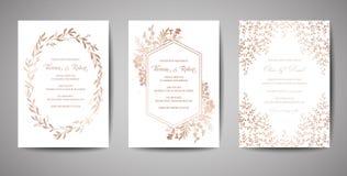 Γάμος πολυτέλειας εκτός από την ημερομηνία, συλλογή καρτών πρόσκλησης με τα χρυσά λουλούδια φύλλων αλουμινίου και τα φύλλα και τη διανυσματική απεικόνιση