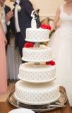 γάμος πρώτου πλάνου εστίασης 3 ανθοδεσμών Λουλούδια νυφών ` s Στοκ Φωτογραφία
