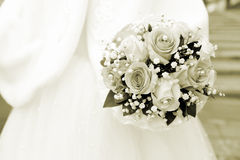 γάμος πρώτου πλάνου εστίασης 3 ανθοδεσμών Σέπια Στοκ φωτογραφίες με δικαίωμα ελεύθερης χρήσης