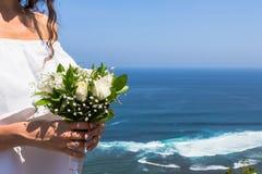 γάμος πρώτου πλάνου εστίασης 3 ανθοδεσμών Στοκ Φωτογραφία