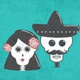 Γάμος σκελετών με την κορδέλλα ή την υποδοχή και το περιστέρι ταινιών Στοκ Φωτογραφία