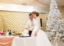 Γάμος στα Χριστούγεννα Νύφη και νεόνυμφος που τρώνε το κέικ στην υποδοχή Στοκ εικόνα με δικαίωμα ελεύθερης χρήσης