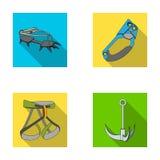 Γάντζος, λουρί ορεσιβίων, ασφάλεια και άλλος εξοπλισμός Καθορισμένα εικονίδια συλλογής ορειβασίας στο επίπεδο διανυσματικό σύμβολ διανυσματική απεικόνιση