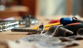 Γάντια εργαλείων εργασίας και εργασίας Στοκ Εικόνες